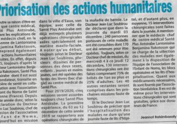 Article de presse paru à Madagascar